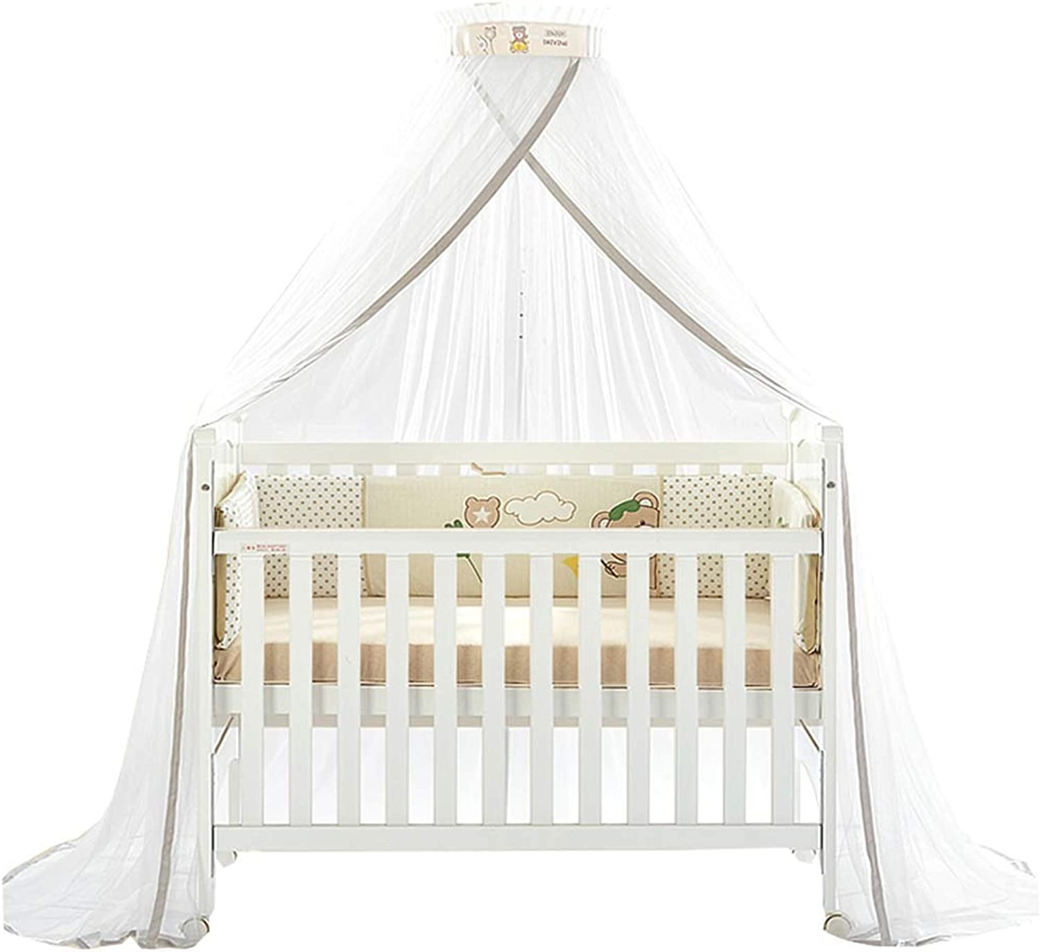 FLY Baby Mosquito Net Baby Toddler Bed Crib Dome Canopy Netting with Stand,Yellow
