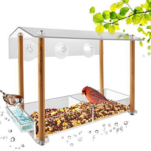 NIUXX Comedero para Pájaros Transparente de Acrílico, Comedero Pajaros Colgante de Exterior, Comedero Pájaros para Ventana con 3 Ventosas Fuertes, Casa de Pájaros para Pinzones Loros y Palomas, Marrón
