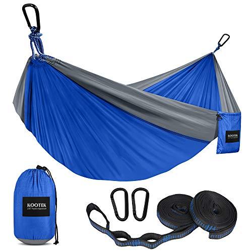 Kootek Hamaca de Camping portátil para Interiores y Exteriores, con 2 Correas para Colgar, hamacas de paracaídas de Nailon Ligero para mochileros, Viajes, Playa, Patio, Senderismo (Gris/Azul, S)