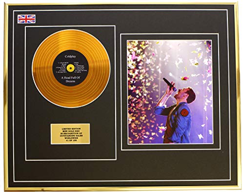 Everythingcollectible Coldplay/Mini Metall Gold DISC & Foto Display/Limitierte Edition/COA/ A Head Full of Dreams