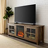 Walker Edison Furniture Company Modern Farmhouse Wood Fireplace Universal Stand with Cabinet Doors for TV's up to 80' Flat Screen Living Room Storage Entertainment Center, 70 Inch, Reclaimed Barnwood