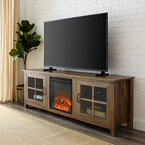 Review Walker Edison Furniture Company Modern Farmhouse Wood Fireplace Universal Stand with Cabinet ...