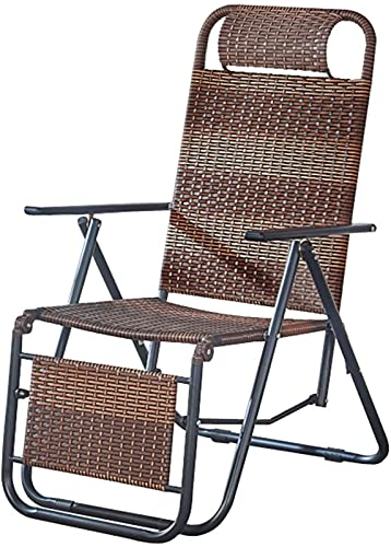 CHLDDHC Poltrona reclinabile per Esterni, Letto, Sedia Spiaggia Portatile, Regolabile 90 ° -170 °, Piscina Cortile Ufficio,Brown-47CM