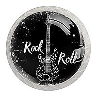 引き出しハンドルは装飾的なキャビネットのノブを引っ張る ドレッサー引き出しハンドル4個,ロックンロールギターベースミュージックヴィンテージ