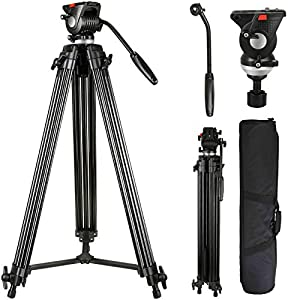 Lusweimi Video Tripod System, 75-inch Aluminum Heavy Duty Tripod with Fluid Head, Professional Cameras Tripod for Canon Nikon DSLR Sony Camcorders 1/4 and 3/8 Screws Quick Plate
