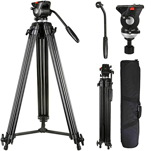 Lusweimi Video Tripod System, 75-inch Aluminum Heavy Duty Tripod with Fluid Head, Professional Cameras Tripod for Canon Nikon DSLR Sony...