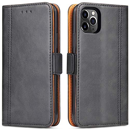Bozon Handyhülle für iPhone 11 Pro Max, Lederhülle mit Kartenfächer, Schutzhülle mit Standfunktion, Klapphülle Tasche für Apple iPhone 11 Pro Max (Schwarz)