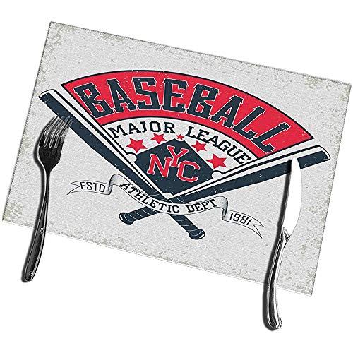 Beryl Shop Esstisch Tischsets Vintage Grange Stamp Baseball Emblem Sport Logo Hitzebeständige Tischsets 12 '(B) X 18' (L)