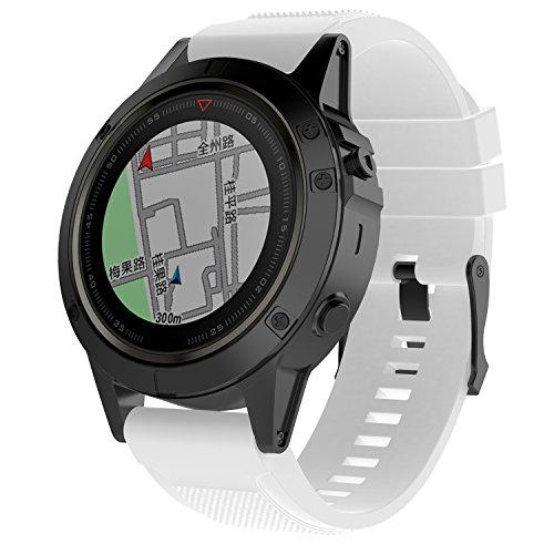 XHNee Fit for Garmin Fenix 6X Pro Watch Bands for Women Men Fenix 5X Plus Band 26mm Easy Fit Silicone Replacement Bands Straps Wristbands Fit for Garmin Fenix 6X Sapphire Fenix 3 White
