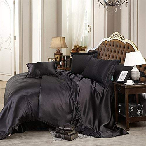 Texas Bedding Company USA Based Black, King/Cal-King Hotel Quality Soft & Luxurious 100% Silky Like Satin 500 GSM Comforter 8 Piece Bedding Set in a Bag