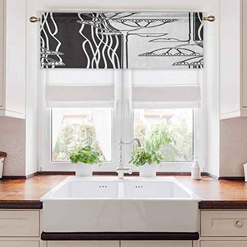 Aishare Store Kitchen Curtain Valance, Abstract Fennel Plants with Seeds Monochrome Garden Condiment Ornament, 36' W x 18' L Short Curtains for Kitchen Dining Room, Black White