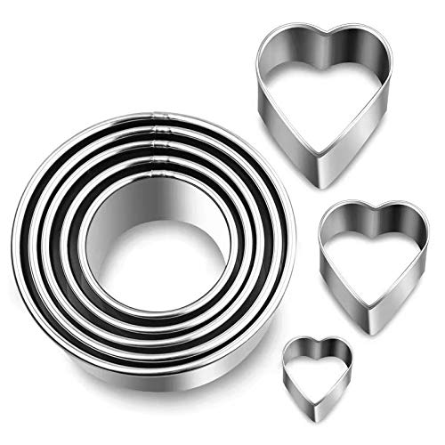 8Pcs Round Cookie Cutters with Hearts Biscuit Cutter for Baking Kitchen, Mini Circle Cutter Stainless Steel Cake Dough Shape Molds