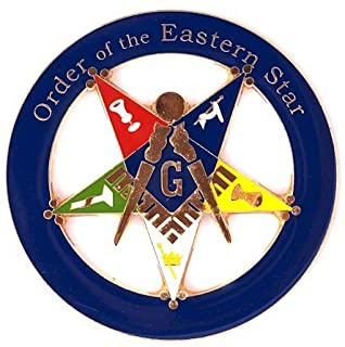 "Order of the Eastern Star Patron Round Blue Masonic Auto Emblem - 3"" Diameter"