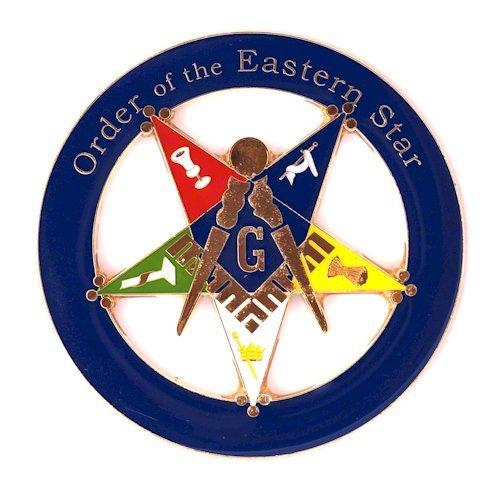Order of the Eastern Star Patron Round Masonic Auto Emblem - [Blue & Gold][3'' Diameter]