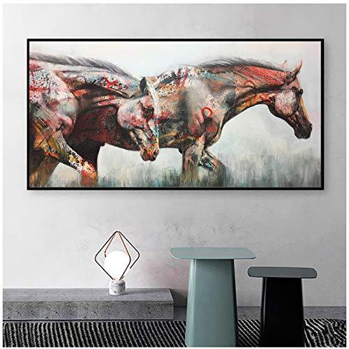 cuadros decoracion salon Dos caballos graffiti poster arte de la pared pintura lienzo impresión imágenes de animales para la sala de estar decoración del hogar 23.6x47.2in (60x120cm) x1pcs sin marco