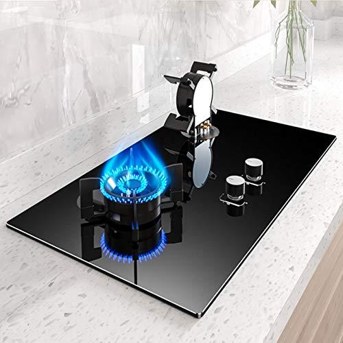 MILECN Construido En 2 Quemadores Estufa De Gas Placa De Cocción Placa De Cocina De Gas De Vidrio Templado con Protección De Termopar Y Fácil De Limpiar,Natural Gas