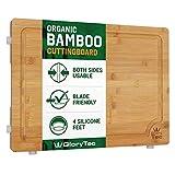 Glorytec XXL Schneidebrett aus Bambus - beidseitig verwendbar - mit