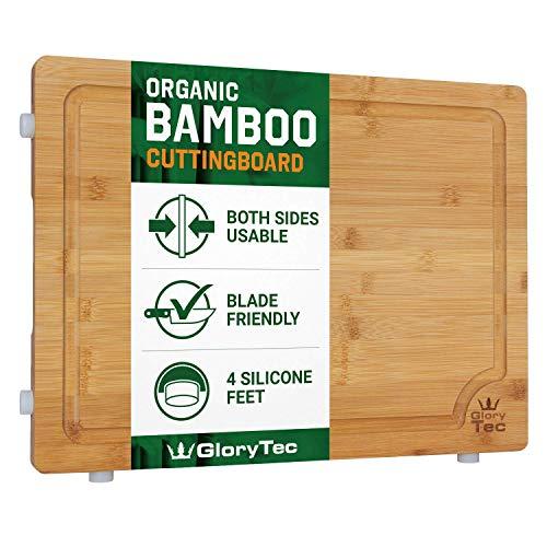 Glorytec XXL Schneidebrett aus Bambus - beidseitig verwendbar - mit Silikonfüßen und extra Breiten Saftrinne - Küchenbrett 40 x 30 x 2cm - klingenschonend und extrem...