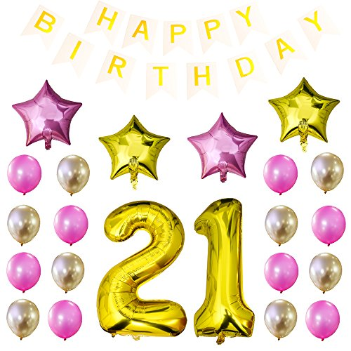Turboom 34 Inch 21st Birthday Balloons, 21 Number Balloons Set with Happy Birthday Banner Mylar Foil Star and Latex Balloons Gold 37-Pack