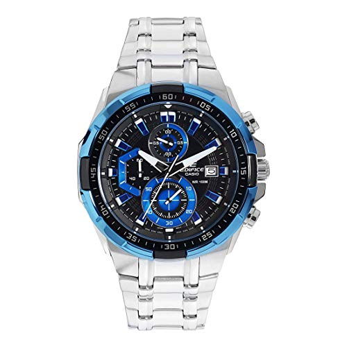 Casio EDIFICE Orologio, Robusta Cassa, 10 BAR, Azzurro/Nero, Uomo con Cinturino in Acciaio Inox EFR-539D-1A2VUEF