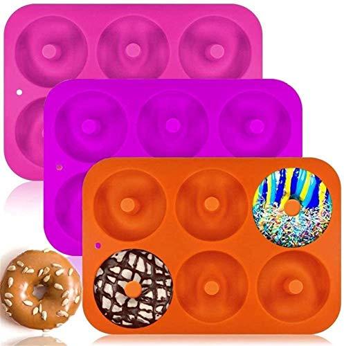 DUDDP Küche Backen Werkzeuge 3er-Pack Silikon Donut Moulds Non-Stick Lebensmittel-Safe-Silikon-Backblech-Hersteller Pan Hitzebeständigkeit for Kuchen-Biskuit-Backofen, Mikrowelle, Gefrierschrank Treso
