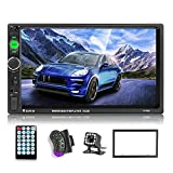 podofo Car Stereo 2 Din Car Radio 7 Inch MP5 Player with HD Touch Screen Digital Display Bluetooth Multimedia support USB SD Aux-in Double Din Autoradio Mobile Phone Interconnection with Backup Camera