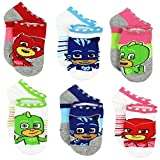 PJ Masks Boys Girls 6 pack Socks (Shoe: 7-10 (Sock: 4-6), PJ Masks Grey/White)