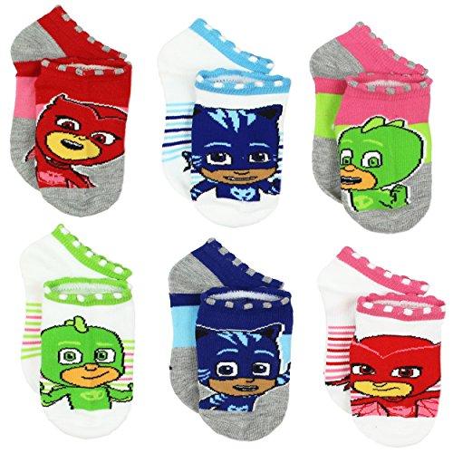 PJ Masks Boys Girls 6 pack Socks (Shoe: 7-10 (Sock: 4-6), PJ Masks Grey/White)