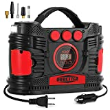 Portable Air Compressor Pump, Car 12V DC & Home 110V AC Tire Inflator with Digital Pressure Gauge Dobetter-DBPAP15