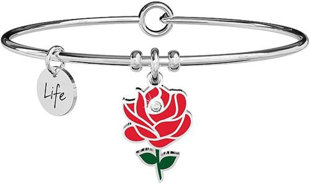 Kidult,bracciale per donna, collezione love rosa,in acciaio 316l con ciondoli XYZ-002010