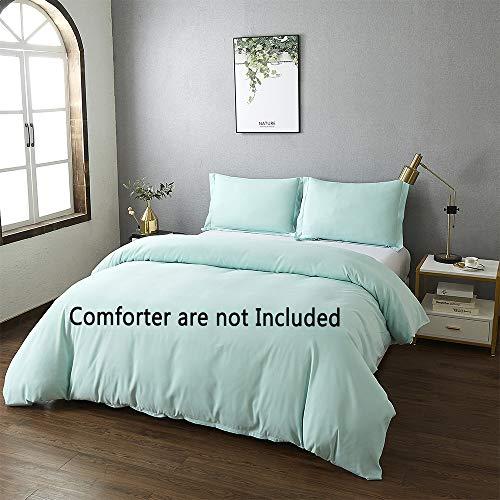 Best Season Queen Size Bedding Duvet Cover Sets 3 Piece with 2 Pillow Shams,Zipper Closure Super Soft Brushed Microfiber Comforter Cover (MintColor)