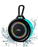 SKYWING Soundace S6 IPX7 Waterproof Shower Speaker 5W Bass+ Bluetooth Speaker with Suction Cup Hook Lanyard RGB Light 15h Playtime, Premium Mini Portable Outdoor Wireless Speaker for Bike Pool Beach