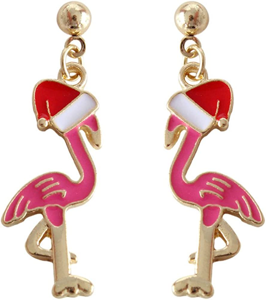 925 Sterling Silver Girls Pink FLAMINGO SCREW BACK Earrings Gift Boxed