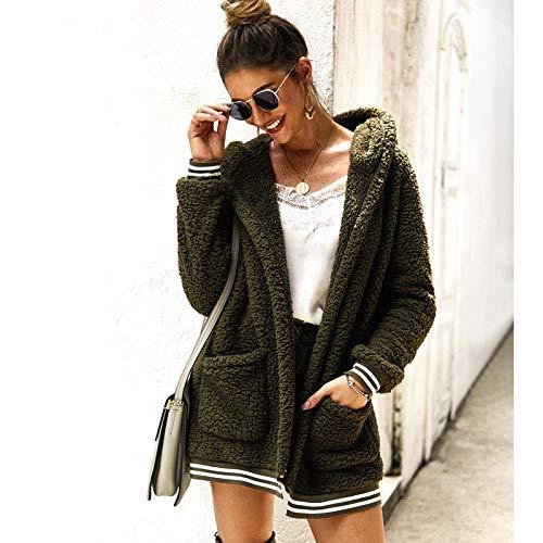Strickjacke Damen Cardigan Frauen Baumwolle Flauschige Langarm Jacke Damen Warme Oberbekleidung Strickjacke Mantel M ArmyGreen
