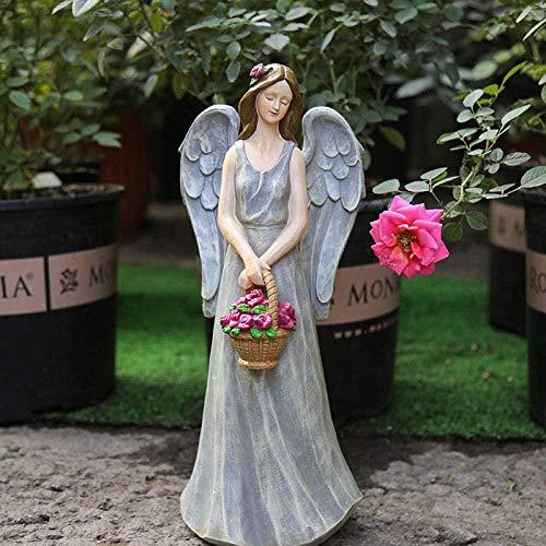 Escultura de Bronce 34Cm Alas Estatua de ángel Artesanía de Resina Hermosa Figura de Hada Escultura artística Jardín al Aire Libre Decoración de Patio-Gris Claro