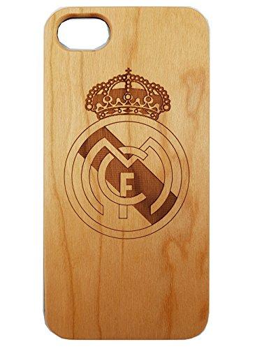 Apple iPhone 5 / 5S / SE Real Madrid Estuche de madera ecológico tallado natural Láser híbrido Grabado Funda protectora ultra delgada para la espalda