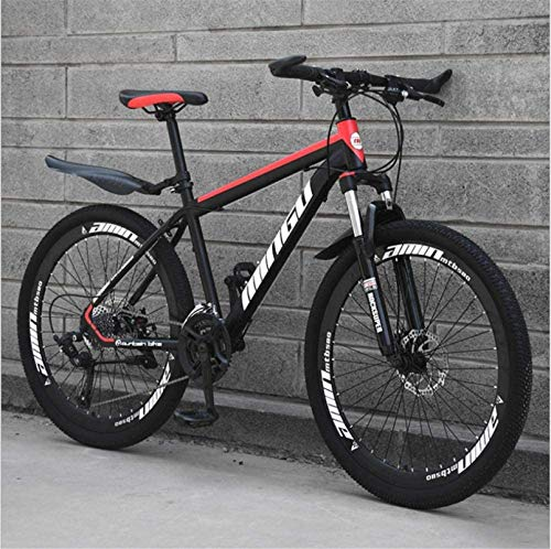 HCMNME Durable Bicycle, 26 inch Mountain Bike Variable Speed Off-Road Shock-Absorbing Bicycle Light Road Racing 40 Cutter Wheels Alloy Frame with Disc Brakes