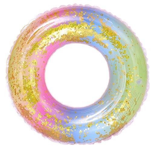 Hunpta@ Schwimmring, Schwimmender Pool Aufblasbarer Regenbogen Pailletten Gradient Schwimmen-Ring Erwachsener Schwimmring 90CM, 80CM, 70CM, 60CM (80CM)
