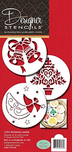 Designer Stencils C164Navidad Galletas Plantillas (Árbol de Navidad–Ángel–Campanas),...