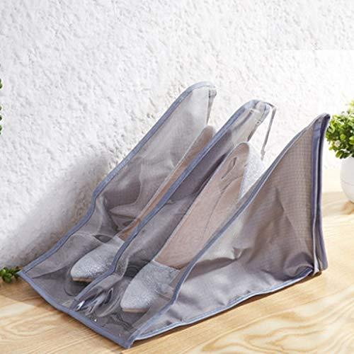 FEIYI Bolsa impermeable para zapatos de viaje, portátil, bolsa de almacenamiento de zapatos con bolsillo de tacón alto, organizador a prueba de polvo (color: gris)