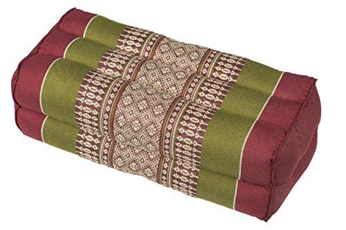 Cuscino per la meditazione yoga 35x15x10 cm, imbottitura Kapok, rosso verde