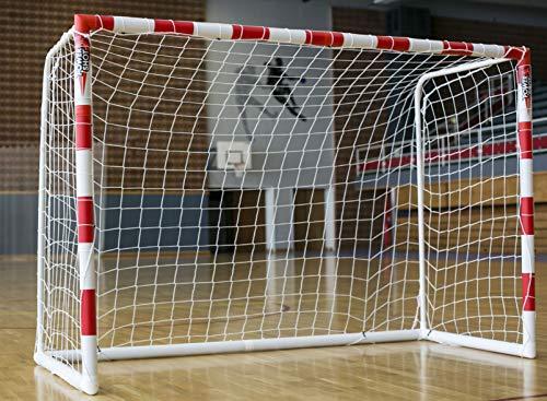 POWERSHOT Handballtor aus super stabilem uPVC WETTERFEST und Inkl. Klicksystem, rot/Weiss gestreift, versch. Größen 3x2m - 2,4 x 1,7m (Handballtor 3 x 2m + Torwand + Transporttasche)