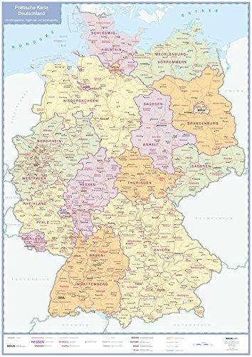 Politische Karte Deutschland: plano in Versandrolle, 1:1 Mio. (Busche Planokarten)