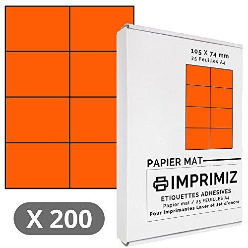 200 Selbstklebende Etiketten neon orange von 105 x 74 mm - 8 Etiketten/Blatt - 25 Blatt A4 / Papier matt - Farbe - Für Inkjet/Laser/Kopier Drucker - Etiketten farbig