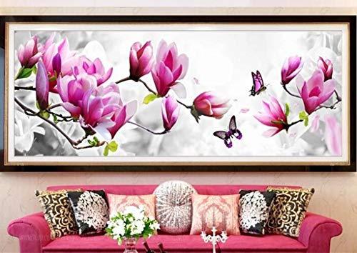 SULISO Kit de Inicio de Bordado 11CT, Juego de Herramienta de Punto de Cruz con Patrón e Instrucciones, Mariposas y Flores Bordado Parcial 120x43cm