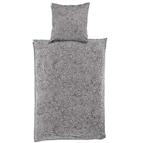 Bierbaum Jersey Bettwäsche Smail in 135x200 + 80x80 cm Design 3293-01 kitt grau schwarz Blätter Made in Germany