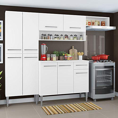 Cozinha Compacta Madesa Emilly Top com Armário e Balcão - Branco