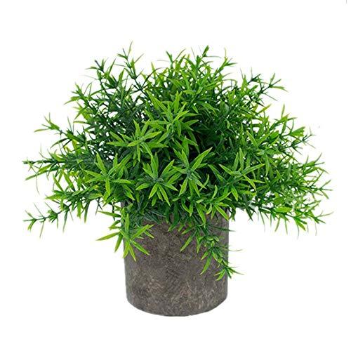 Hierbas Bonsai Verdes Mini Plantas Artificiales en Maceta de Romero Planta de plástico sintético Verde en Interior pequeño