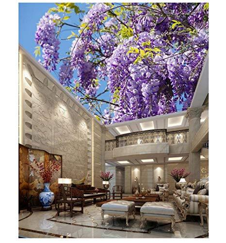 Muurschilderingen Aangepaste 3D Behang HD Sky Landschap Paarse Plant Bloem Plafond Mural Slaapkamer Woonkamer Eetkamer Achtergrond Wanddecoratie 350(w)x256(H)cm