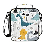 ZOEO Boys Dinosaur Lunch Box Cute White Dino Insulated Lunch Bag Prep Kids Cooler Blue Tote Freezable Shoulder Strap Waterproof Picnic Meal for School Office